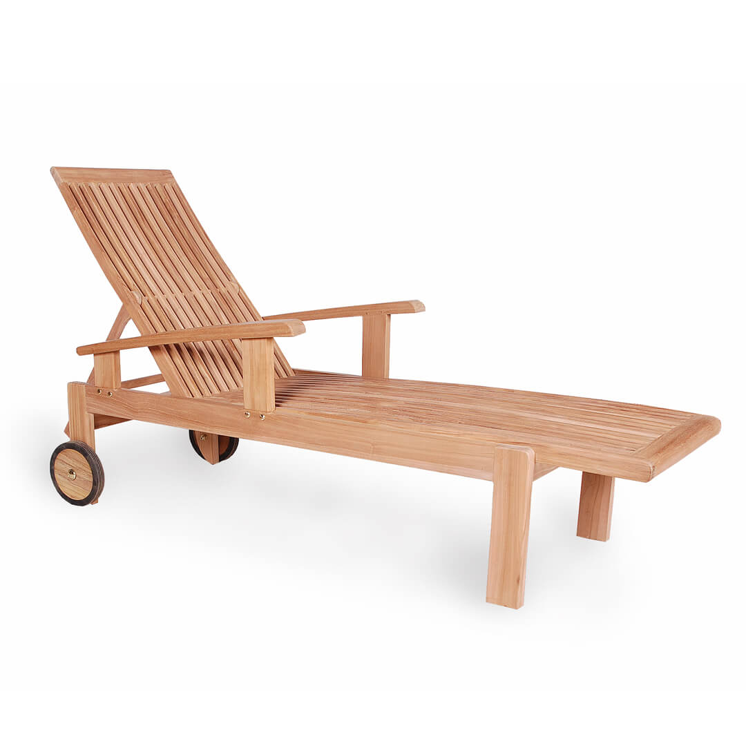 teak outdoor sunlounger with arm rest