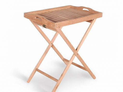 Teak Tray With Stand For Outdoor Garden