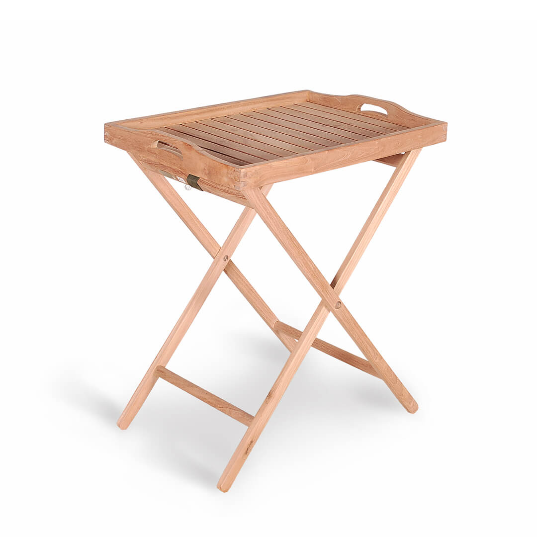 Buy Teak Tray With Stand For Outdoor Garden From Indonesia - Teak outdoor end table