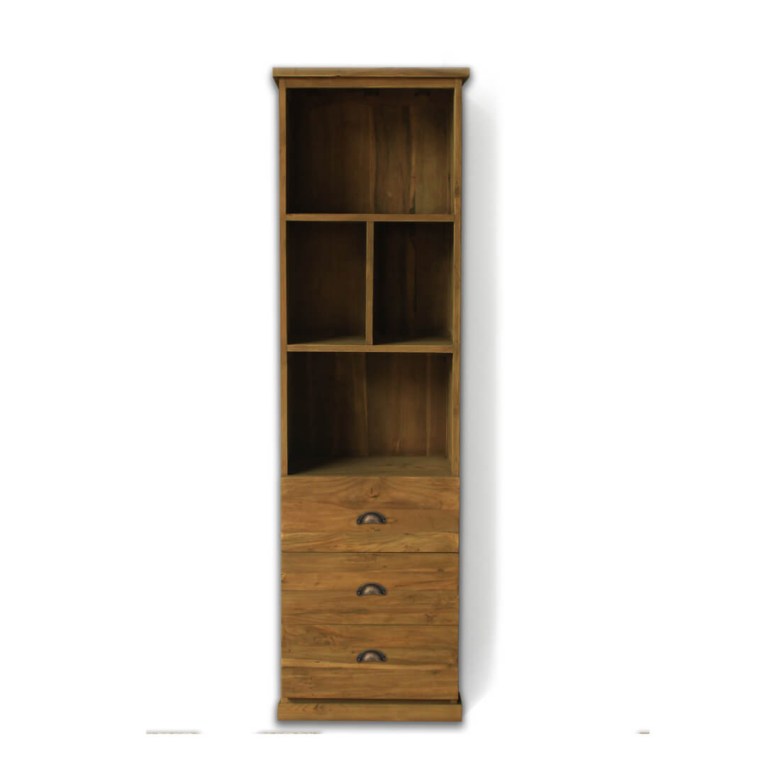 teak reclaimed wood bookcase front view