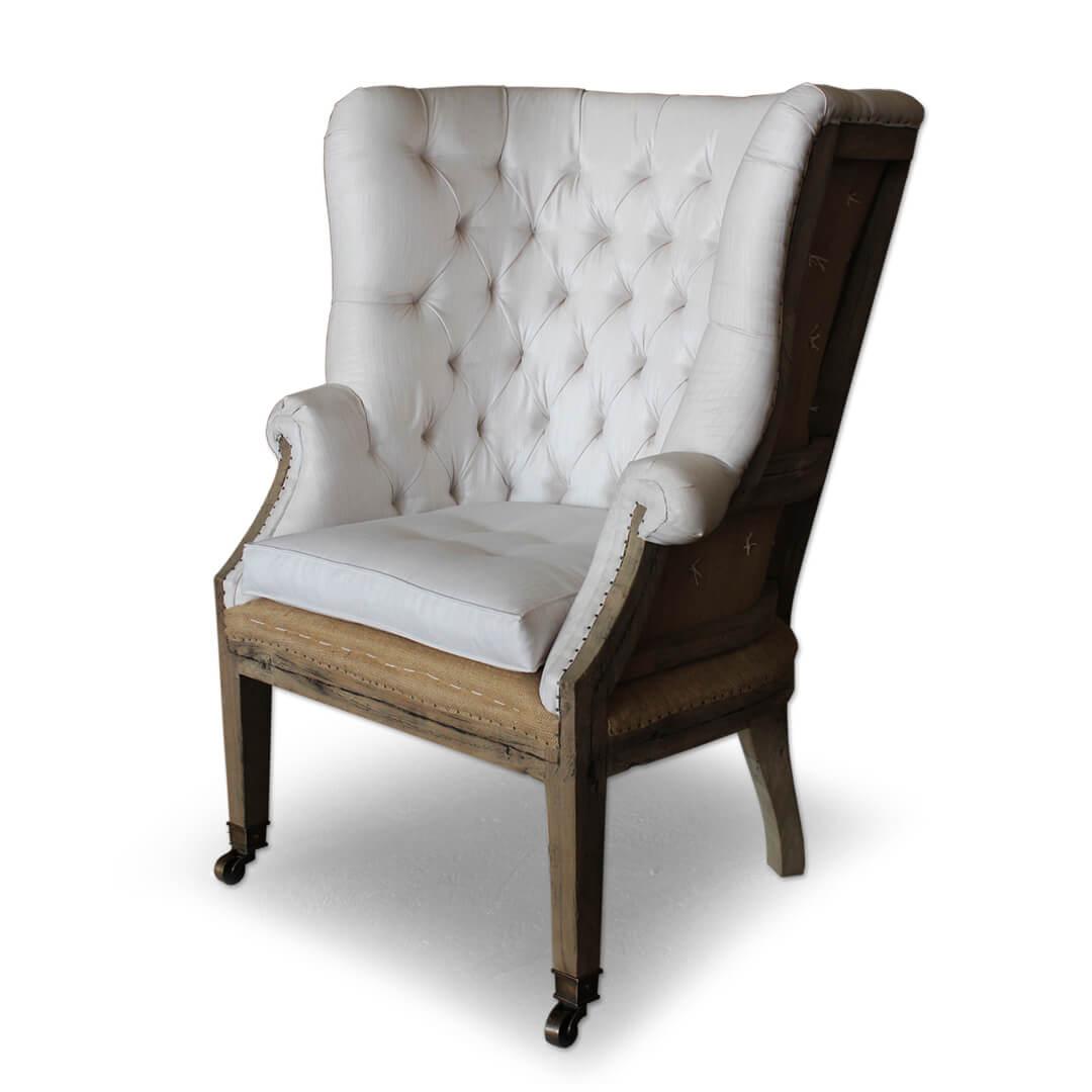 teak reclaimed wood deconstructed wingback sofa