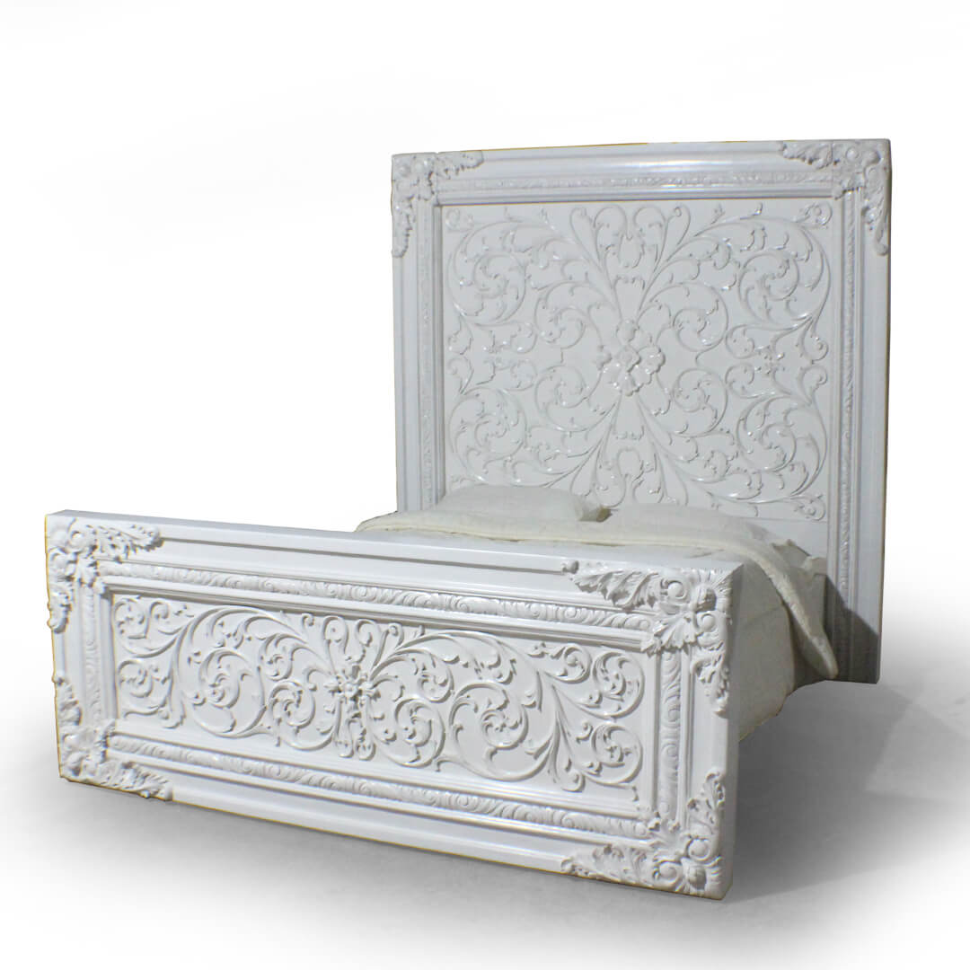 antique white painted bed carving furniture indonesia