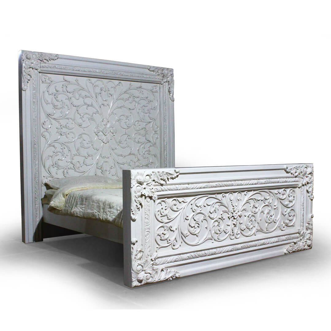 antique white painted bed carved
