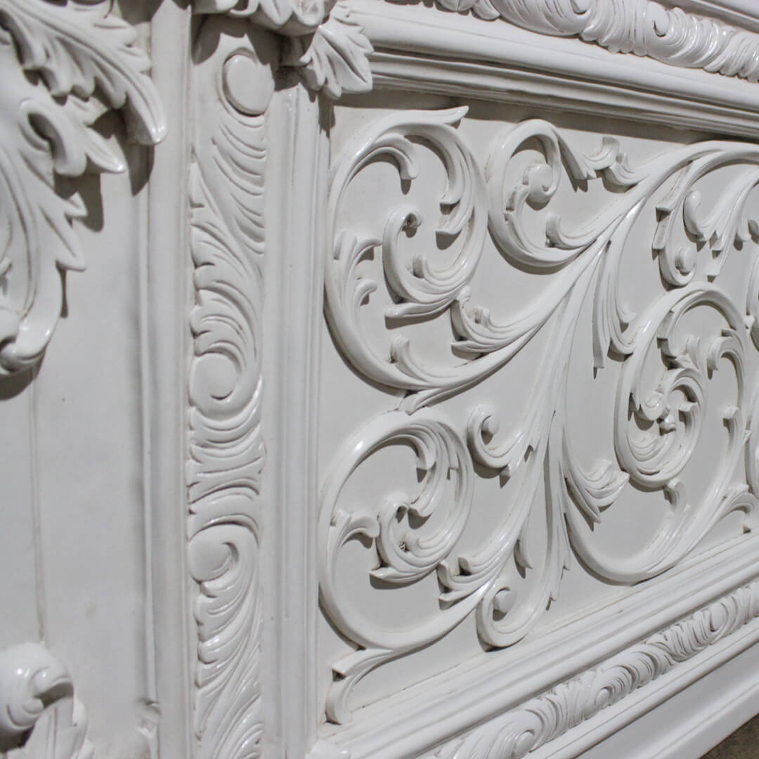 antique white painted bed carved detail