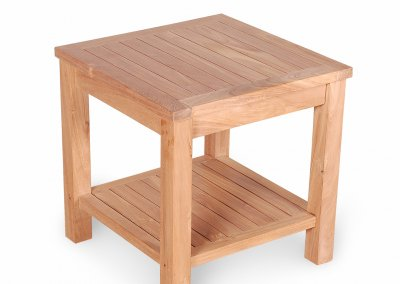 Teak Garden Side Table With Shelf