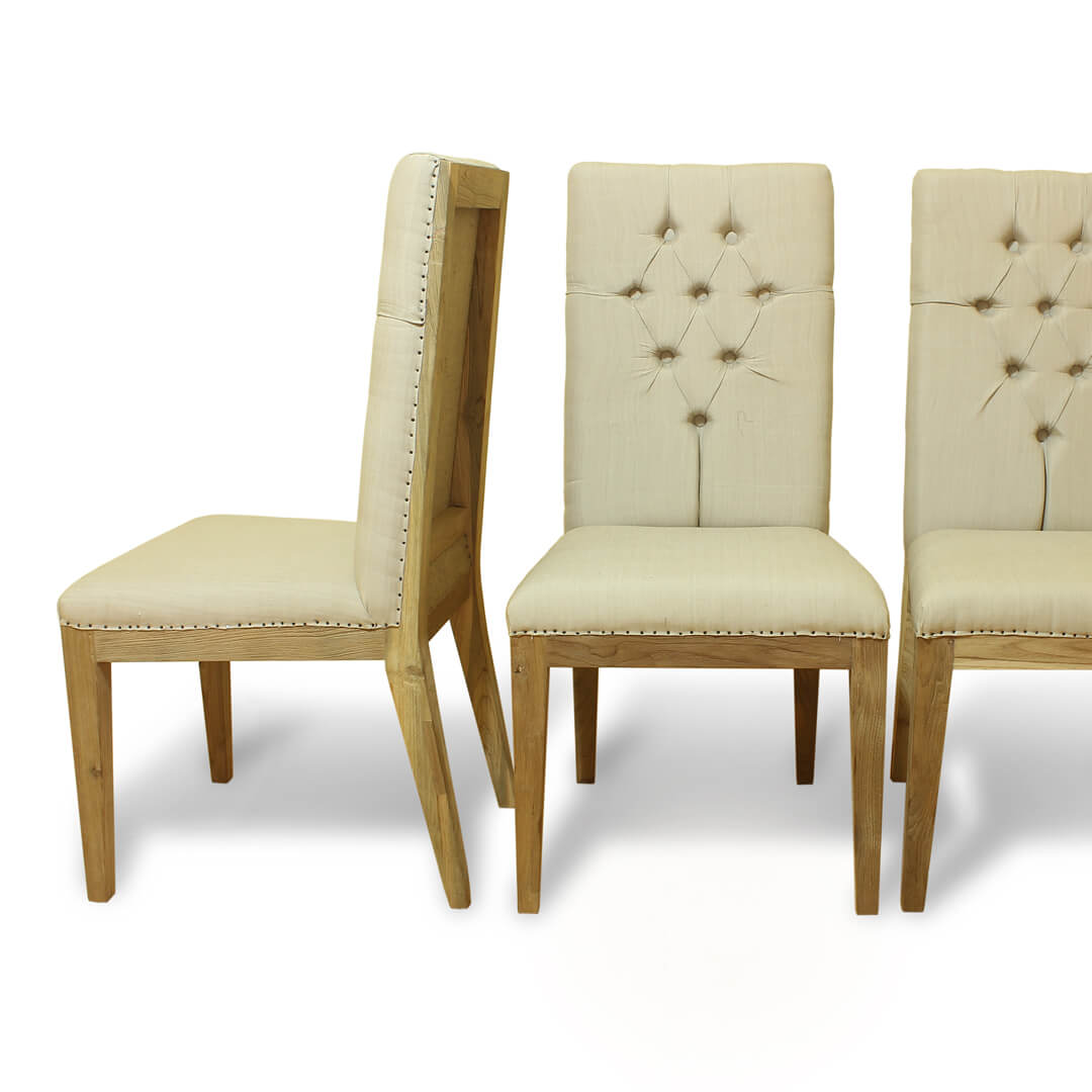 Teak Recycle Wood Dining Chairs side by side