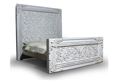 Antique Carving White Painted Bed