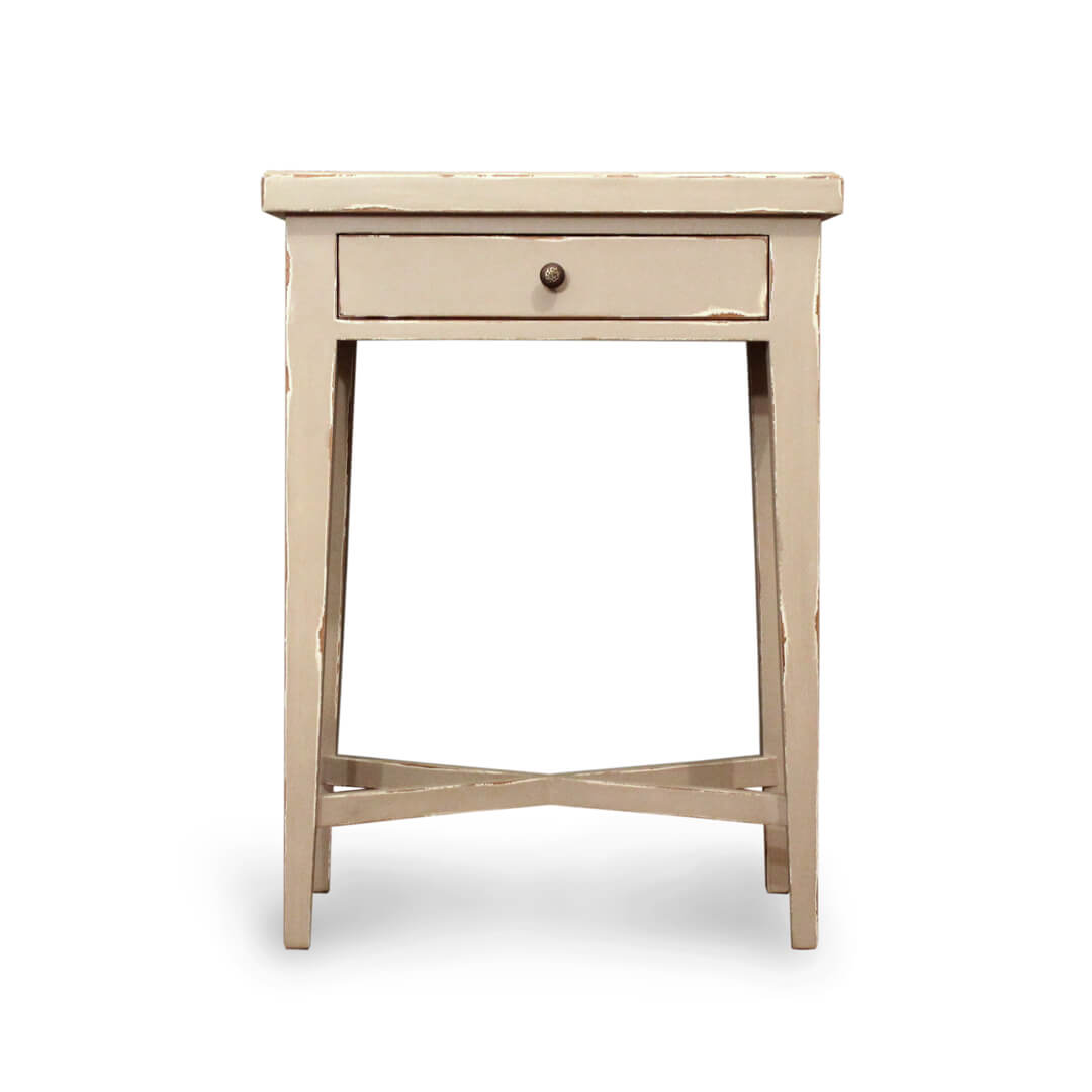 greta antique side table side view