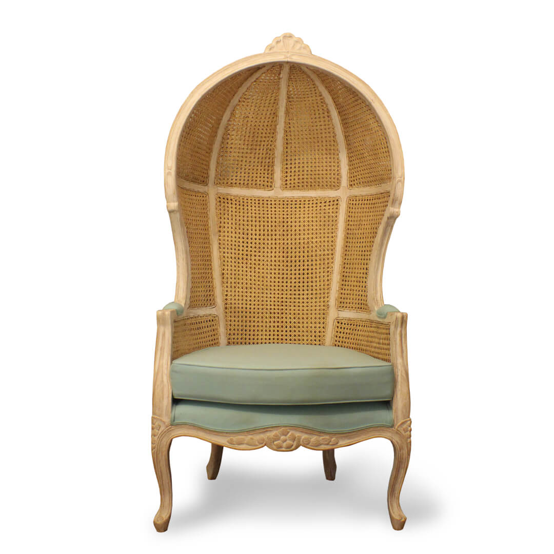 cane woven canopy chairs front view