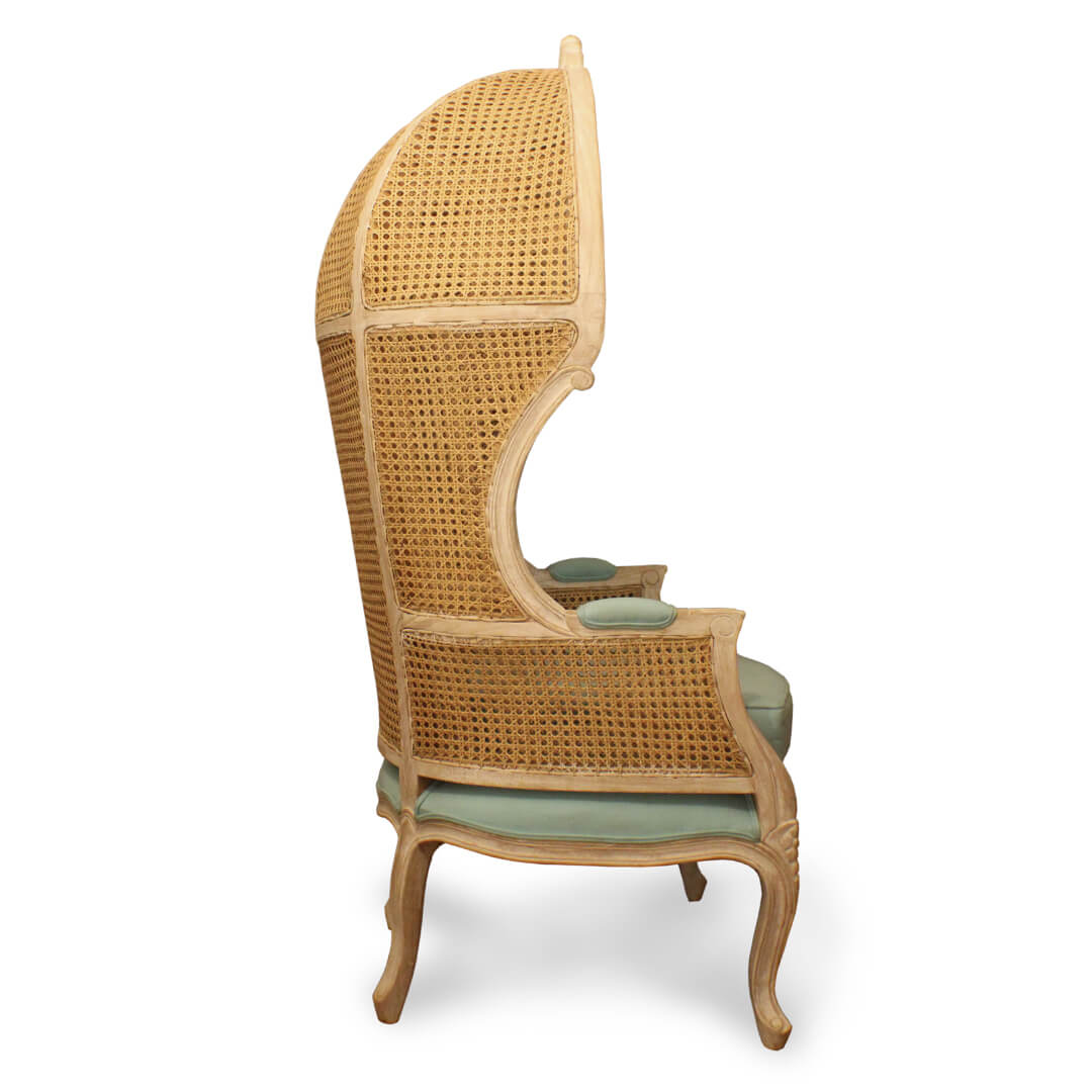 cane woven canopy chairs side view