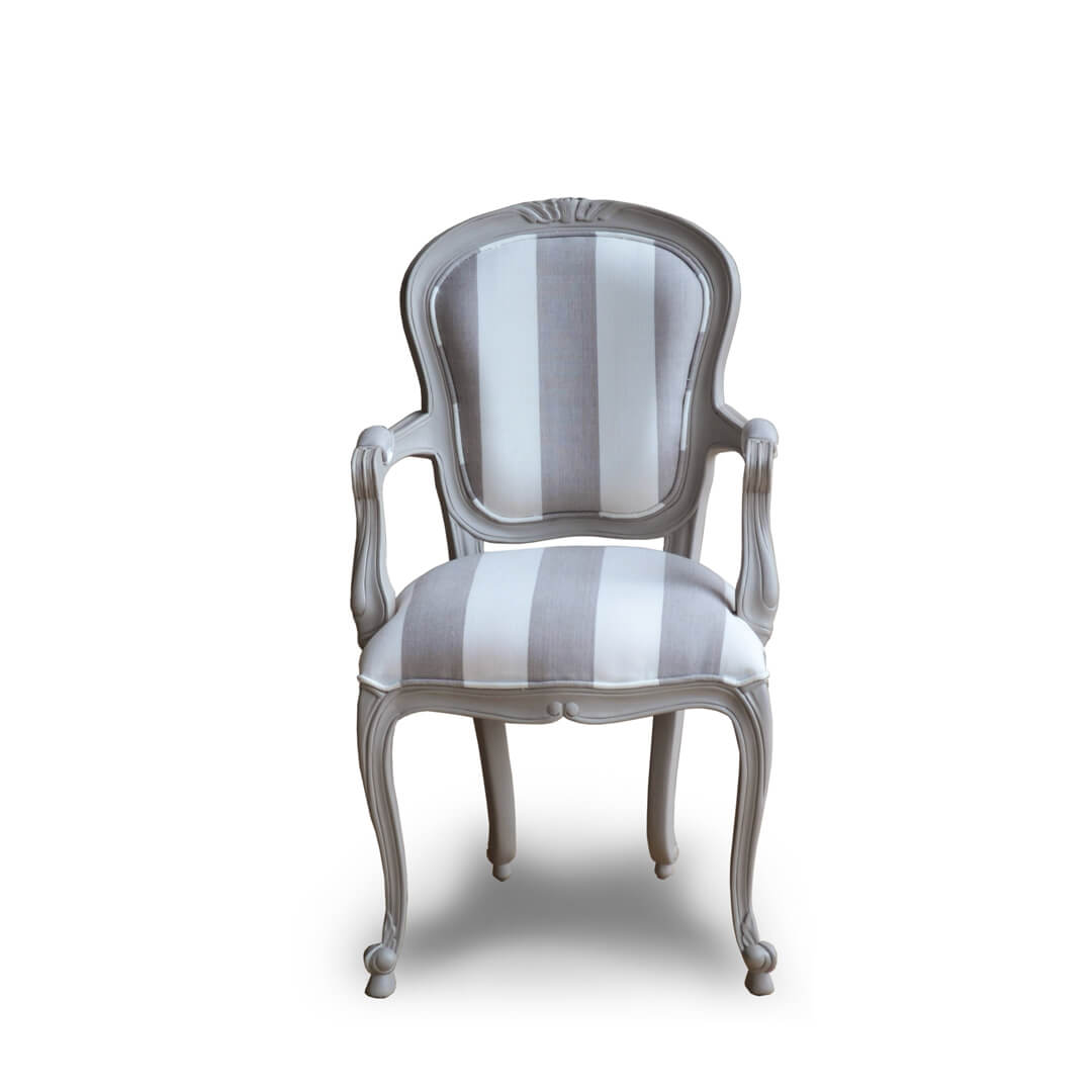 Antique French Painted Dining Chairs Front View