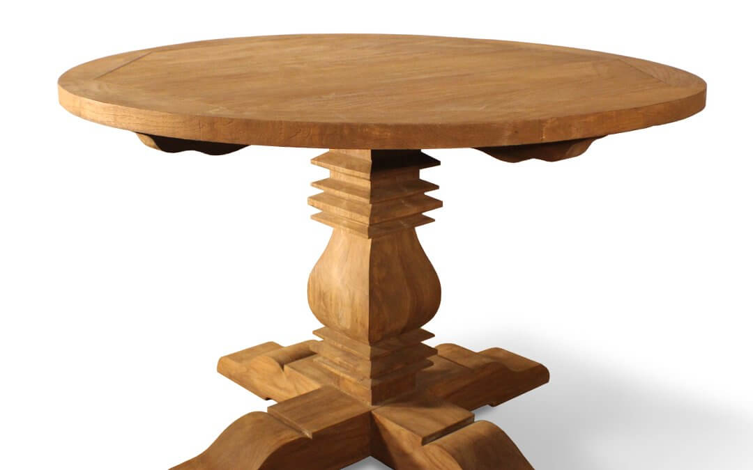Country Style Teak Reclaimed Round Dining Table