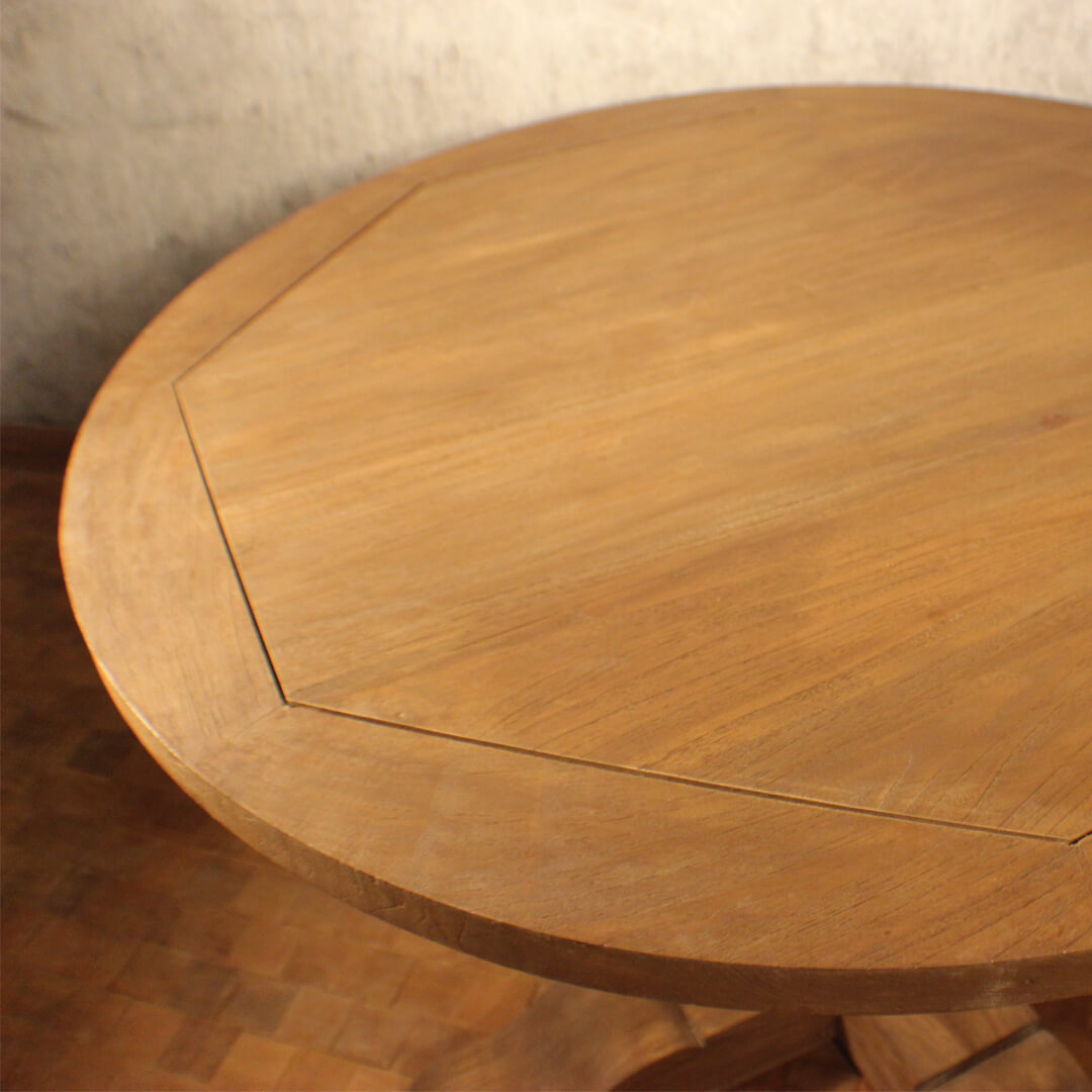 Country Style Teak Round Dining Table detail view
