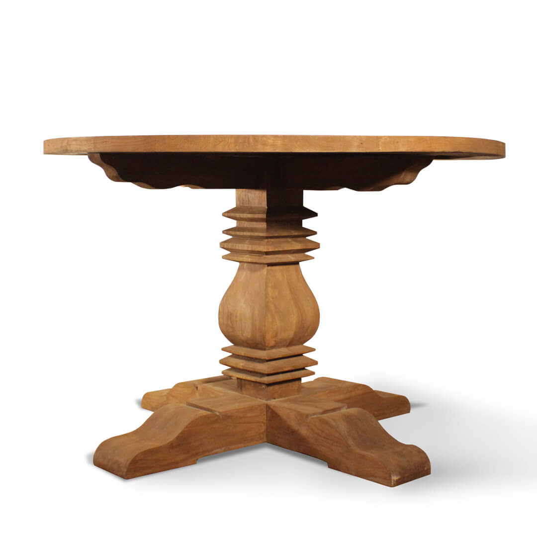 Country Style Teak Round Dining Table front view