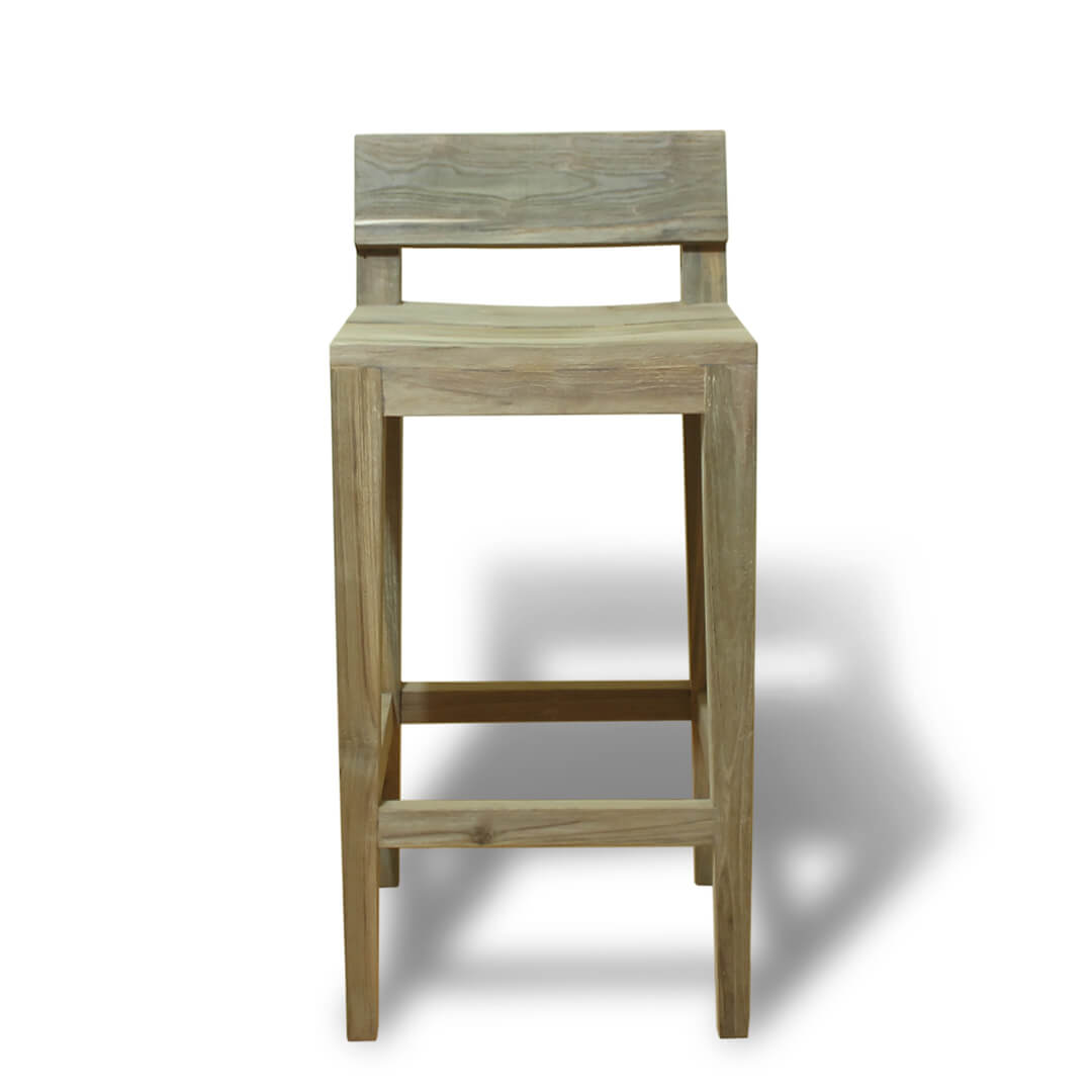 teak reclaimed bar stools front view