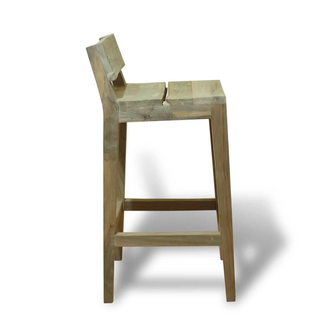 teak reclaimed bar stools side view