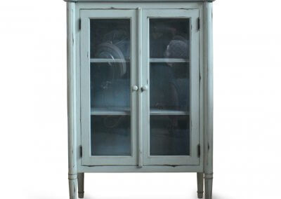 Antique Painted Display Glass Cabinet