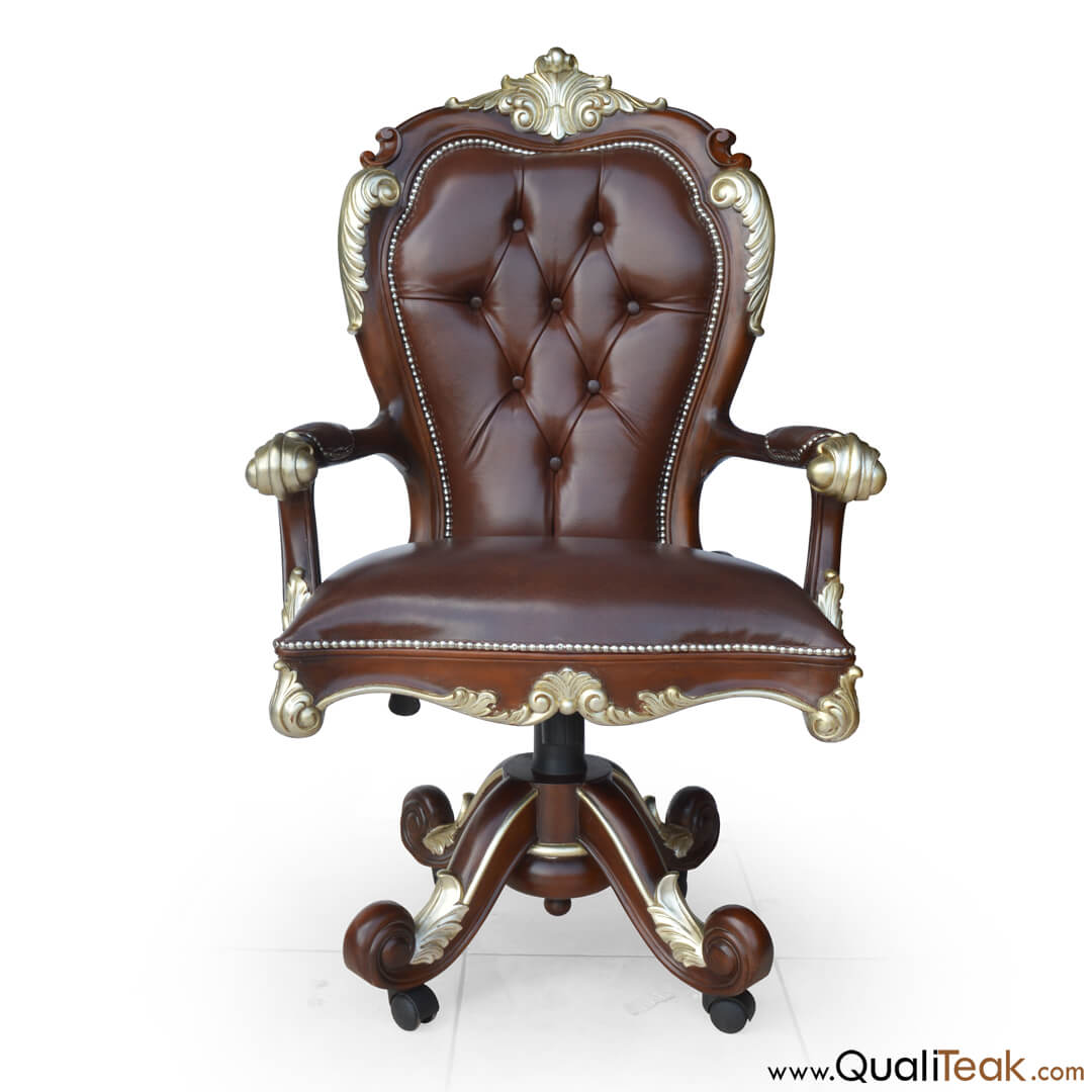 Antique Swivel Desk Chair Front View
