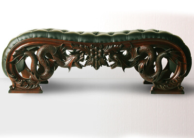 Dragon Carving End Bench
