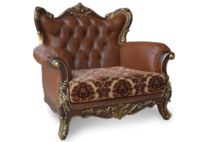 Antique Carving Leather Armchair
