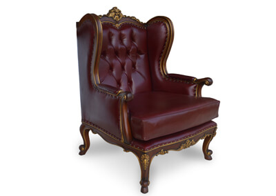 Antique Wingback Chair Tufted Leather